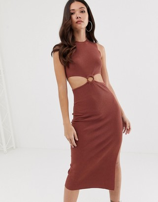 Asos Design DESIGN knitted midi dress with cut out ring detail-Red