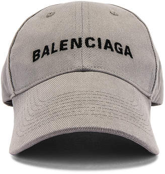 Balenciaga Logo Adjustable Cap in Lead & Black | FWRD