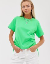 Asos Design DESIGN boxy cropped t-shirt with ruched side in neon green