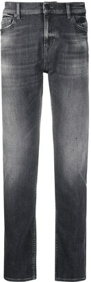 7 For All Mankind Stonewashed Straight Jeans