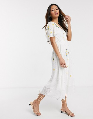 French Connection button front embroidered broderie midi dress