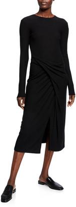 Vince Long-Sleeve Draped Midi Dress
