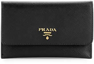 Prada Saffiano Wallet/Card Case, Black (Nero)