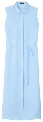 Theory Sleeveless Linen Shirtdress