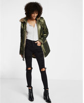 Express olive grove sequin anorak