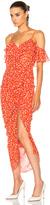 Veronica Beard Marilyn Cold Shoulder Ruffle Midi Dress