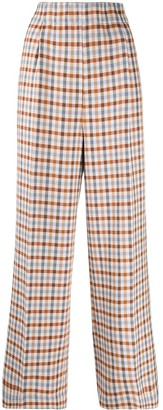 Jejia Checkered High-Waist Trousers