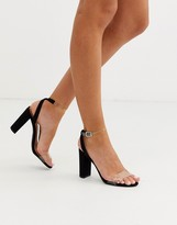 New Look clear strap heeled sandals in black