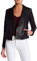 Cole Haan Asymmetrical Genuine Leather Jacket