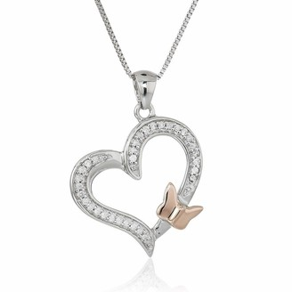 Overstock 1/10 cttw Diamond Butterfly and Heart Pendant 14K White and Rose Gold with Chain