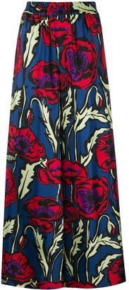 La DoubleJ Floral Print Silk Palazzo Pants