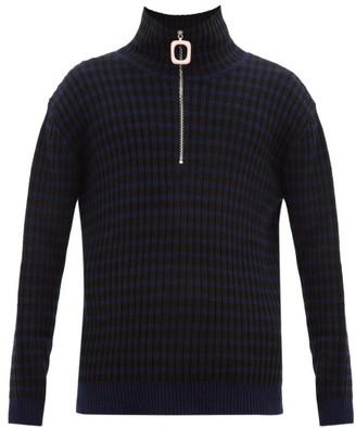 J.W.Anderson Striped Quarter-zip Wool-blend Sweater - Mens - Navy