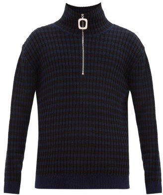 J.W.Anderson Striped Quarter-zip Wool-blend Sweater - Navy