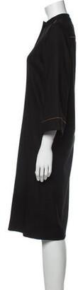 Vanessa Seward Mock Neck Midi Length Dress Black