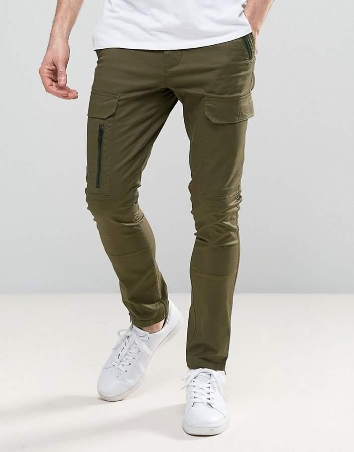 Asos Design Super Skinny Pants With Zip Cargo Pockets In Khaki