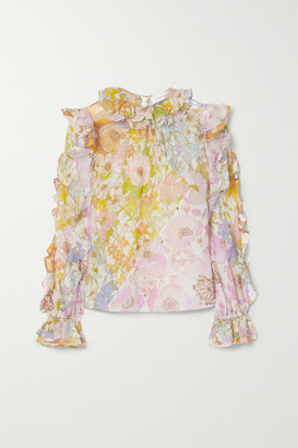 Zimmermann Super Eight Ruffled Floral-print Cotton And Silk-blend Voile Top - Pink
