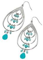 Fiorelli Costume Collection Women's E3714 Teardrop Earrings Set with Imitation Turquoise Beads