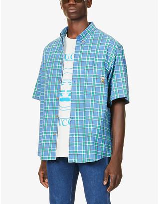 Gucci Tartan-print graphic-embroidered cotton shirt