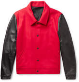 Ami Virgin Wool-blend And Leather Jacket - Red