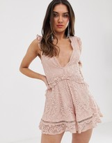 Love Triangle plunge front eyelash lace romper with flippy hem in soft mink