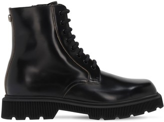 Gucci Gg Metal Leather Combat Boots