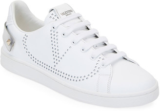 Valentino Garavani Backnet Low-Top Sneakers with Metallic Rockstud Tab