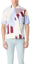 MAISON KITSUNÉ Allover Patches Short Sleeve Button Down Shirt