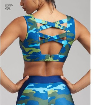 Simplicity Patterns Simplicity Misses' Size 30A-44G Knit Sports Bras Pattern, 1 Each