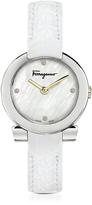 Salvatore Ferragamo Gancino Stainless Steel and Diamonds Women's Watch w/White Croco Embossed Strap