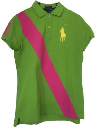 Polo Ralph Lauren Polo ajuste manches courtes Green Cotton Top for Women
