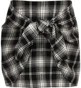 River Island Girls Black check front tie knot skirt