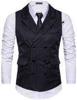 Cottory Men's Classic Stripes Slim Fit Double-breasted Tailored Collar Suit Vest Black
