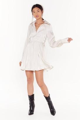 Nasty Gal Womens Such a Shirt Satin Mini Dress - Cream