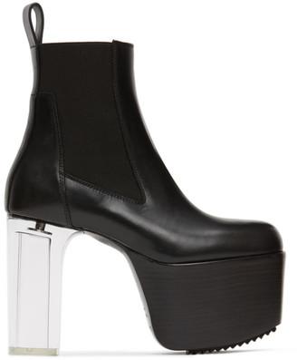 Rick Owens Black Transparent Heel Kiss Boots