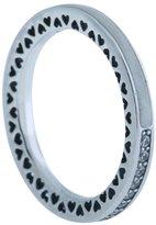Pandora Radiant Hearts Ring, Silver Enamel & Clear CZ, 8.5 US, 191011CZ-58