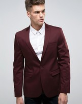 Asos Skinny Blazer In Burgundy Cotton Sateen