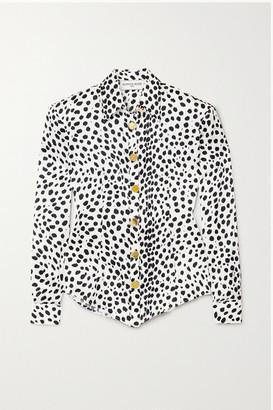 ROWEN ROSE Animal-print Silk-satin Shirt - Black