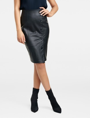 Forever New Amelia Faux Leather Snap Wrap Pencil Skirt - Black - 4