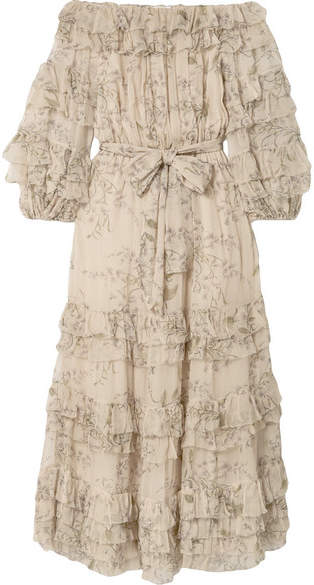 Zimmermann Unbridled Off-the-shoulder Printed Silk-chiffon Midi Dress - Beige