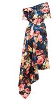 Richard Quinn Off-the-shoulder Asymmetrical Floral Satin Dress - Womens - Blue Multi