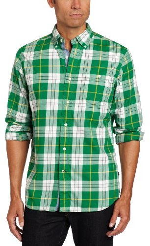 Nautica Men's Long Sleeve Twill Button Down Collared Plaid Shirt
