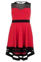 Quiz Curve Red And Black Mesh Dip Hem Dress