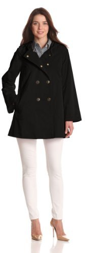 Jones New York Women's Snap Front Hooded Raincoat