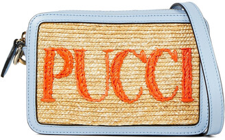 Emilio Pucci Logo-embroidered Straw And Leather Shoulder Bag