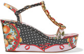 Dolce & Gabbana Embellished printed patent-leather wedge sandals
