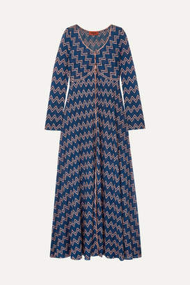 Missoni Embroidered Crochet-knit Cardigan - Navy