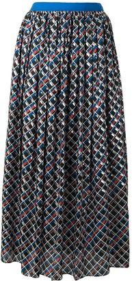 Kolor Geometric Print Midi Skirt