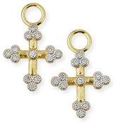Jude Frances Provence 18K Tiny Cross Earring Charms with Diamonds