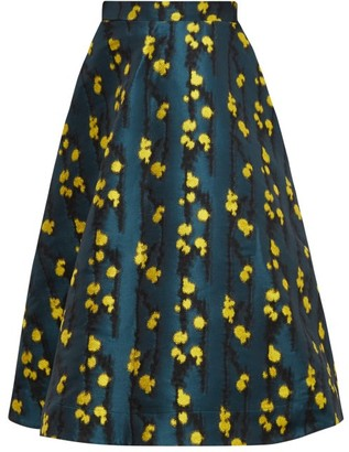 La DoubleJ Floral-jacquard High-waisted Midi Skirt - Womens - Green Print