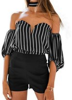 Fashion Story Women's Halter Strapless Off Shoulder V Neck Striped Blouse Shirt T-shirt Top